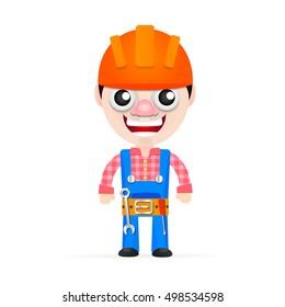 Friendly builder with helmet, tools, vector illustration