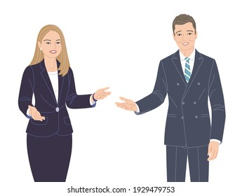 Friendly business woman and man in strict clothes isolated on white. Office worker, spokesperson, presentation, communication, inviting to event. Male and female characters vector flat illustration.