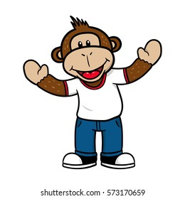 Friendly Cartoon Monkey Character Vector Illustration