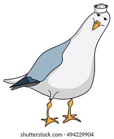 Friendly cartoon seagull with sailor hat