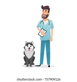 Friendly cartoon veterinarian character. Happy vet doctor with a folder and a stethoscope stands near the dog husky. A professional doctor from a veterinary clinic cured the dog.