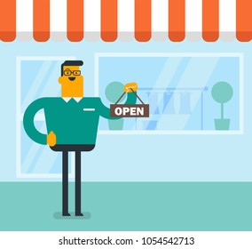 Friendly caucasian white shop owner holding open signboard. Young cheerful shop owner standing in front of small store with placard. Small business concept. Vector cartoon illustration. Square layout.