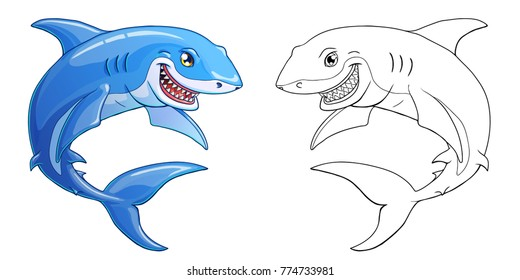 The friendly cheerful kind smiling shark color full and contour line on a white background. Marine predatory animal fish. Cartoon vector illustration. Page of a coloring