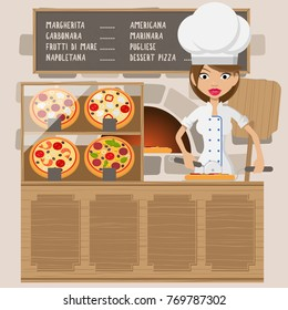 Friendly chief cook standing in front of oven. Chief cook at pizzeria. Chief cook is  slicing pizza. Vector flat design illustration. Square layout.
