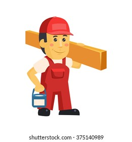 Friendly construction worker man with tools, vector illustration