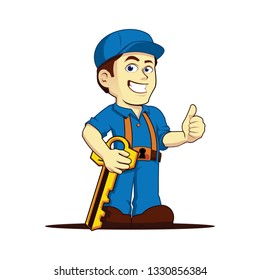 Friendly Cool Locksmith Thumbs Up Cartoon Character