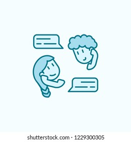 friendly correspondence 2 colored line icon. Simple colored element illustration. friendly correspondence outline symbol design from friendship set