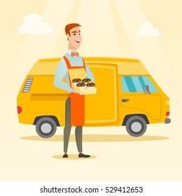 Friendly delivery man holding a box of cakes. Caucasian baker delivering cakes. Cheerful man with cupcakes standing on the background of delivery truck. Vector flat design illustration. Square layout.