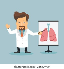 Friendly Doctor therapist flat cartoon character. Anatomical shape of human lungs