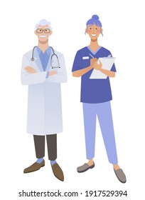 Friendly doctors in medical uniform. Smiling man and woman physicians.  Friendly therapist and nurse. Isolated on white vector illustration.