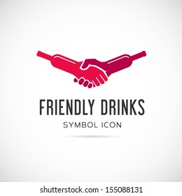 Friendly drinks bar symbol icon or logo template