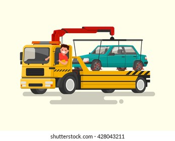 Friendly driver behind the wheel of a tow truck. Assistance on the road. Vector illustration of a flat design.