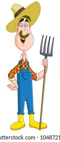 Friendly farmer with pitchfork