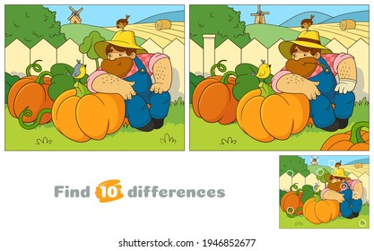 Friendly farmer wearing a straw hat resting next to pumpkins. A big bearded man makes friends with small birds. Find 10 differences. Educational game for children. Cartoon vector illustration.