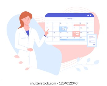 Friendly female doctor near the work schedule. Hospital calendar, make an appointment online. Vector illustration on pastel gentle background.