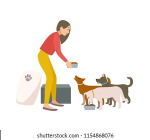 Friendly female volunteer feeding dogs in animal shelter or pound. Young woman giving food to homeless puppies isolated on white background. Colorful vector illustration in flat cartoon style