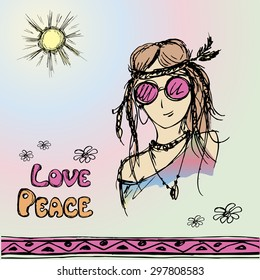 Friendly girl hippie with long hair making peace sign, vector illustration