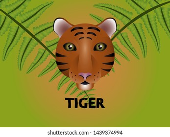 Friendly good colourful tiger mascot emoticon logo in the fern forest