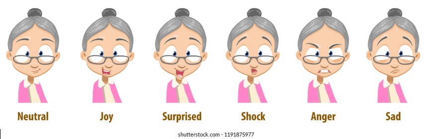 Friendly granny in glasses with various facial emotions. Avatars with neutral, joy, surprise, shock, anger and sad emotions. Grandmother personage icons. Old woman in cartoon style vector illustration