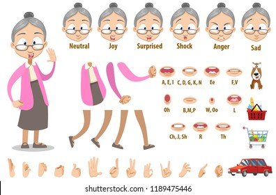 Friendly granny in pink blouse and grey skirt. Creation set with various facial emotions, hand gestures, lips and items. Female pensioner personage constructor for custom animation vector illustration