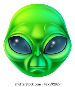 A friendly green cartoon alien extraterrestrial character