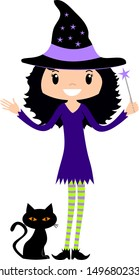 Friendly Halloween girl witch with black hair in pointed hat and green and purple striped stockings with a magic wand and black cat with orange eyes