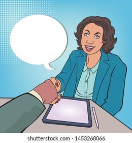 A friendly handshake of business associates.pop art style hand drawn vector illustration. Comic book style imitation. Vintage retro style. Conceptual illustration