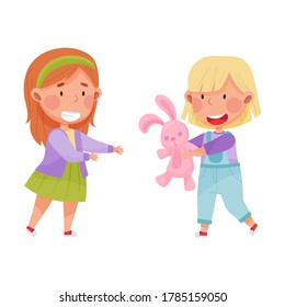 Friendly Kids Playing Together and Sharing Toy Hare Vector Illustration