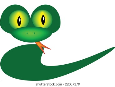 friendly looking green snake with yellow eyes and tongue sticking out