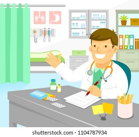 Friendly male doctor sitting in his office and gesturing towards the examination room