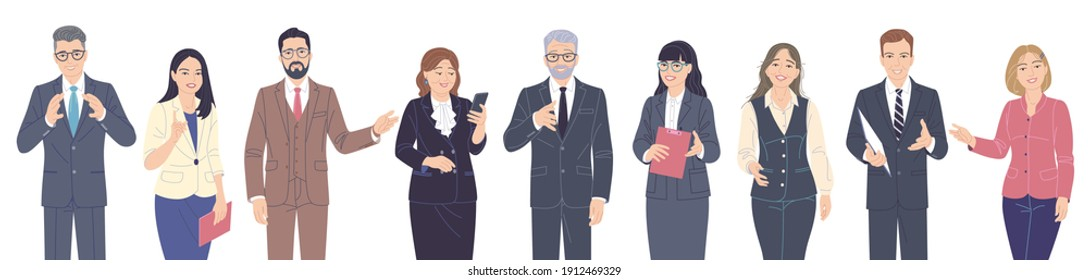 Friendly male and female characters set. Confident women and men in suits isolated on white. Business team, presentation, communication, inviting to event. Group of people vector flat illustration.