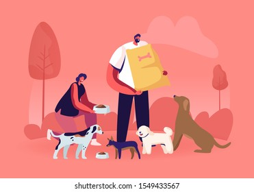 Friendly Male and Female Volunteer Characters Feeding Dogs in Animal Shelter or Pound. Young Woman Giving Food to Homeless Puppies in Bowl, Man Hold Nutrition Package. Cartoon Flat Vector Illustration