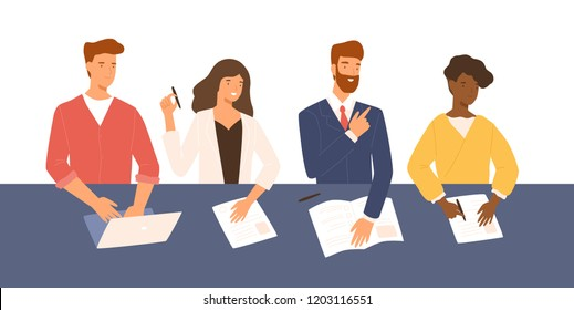 Friendly men and women sitting at table, holding CV and asking questions during job interview. Smiling HR, hiring or recruitment specialists. Colorful vector illustration in flat cartoon style.
