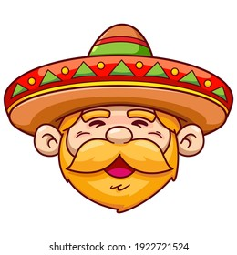Friendly Mexican Character face wearing traditional Mexican hat