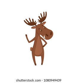 Friendly moose waving paw. Forest animal with large branched horns. Cartoon character of Eurasian elk. Flat vector design