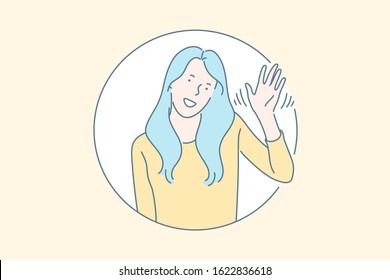 Friendly nonverbal greeting gesture concept. Cheerful, smiling, cute young girl waving hand, saying hi, hello, goodbuy, meeting people, welcoming, salutation symbol. Simple flat vector