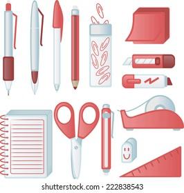 Friendly office supply icons Vector illustration cartoon.