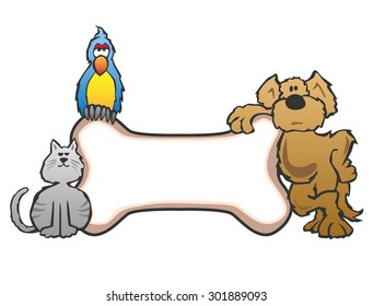 Friendly pet shop style cartoon logo great for pet shops, stores, animal events, etc. Featuring a cute dog, cat and bird surrounding a bone, ready for your text