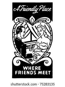 A Friendly Place 2 - Retro Ad Art Banner