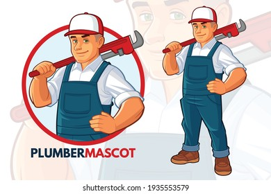 Friendly Plumber with big Wrench  Mascot Design