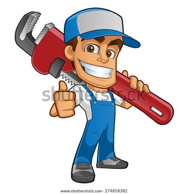 Freundlicher Klempner, er ist in Arbeitsbekleidung gekleidet und trägt ein Werkzeug
