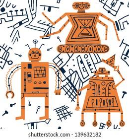 friendly robots vector seamless pattern
