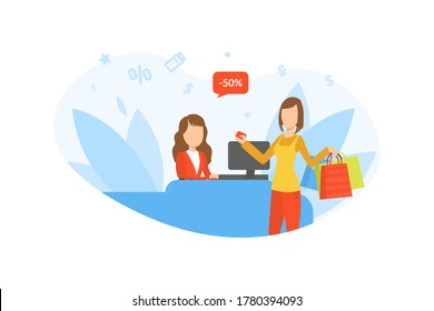 Friendly Saleswoman and Young Woman Buyer Paying for Goods at the Checkout, Girl on Seasonal Sale Vector Illustration