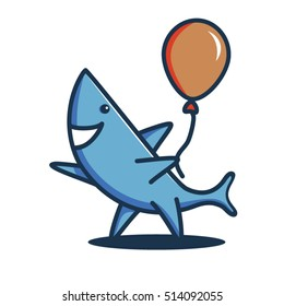 A friendly shark holding a balloon and waiving.