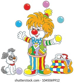 Friendly smiling circus clown in a colorful suit juggling with color balls and playing with his small dog, a  vector illustration in a cartoon style