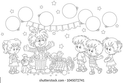 Friendly smiling circus clown with his pup, toys and balloons playing with small children, a black and white vector illustration in a cartoon style for a coloring book