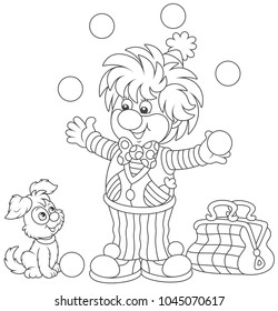 Friendly smiling circus clown juggling with balls and playing with his small dog, a black and white  vector illustration in a cartoon style for a coloring book