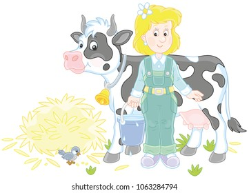 Friendly smiling cute milkmaid holding a bucket full of milk and standing near her cow after milking, a vector illustration in cartoon style