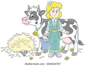 Friendly smiling cute milkmaid holding a bucket full of milk and standing near her cow after milking, a vector illustration in a cartoon style