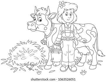 Friendly smiling cute milkmaid holding a bucket full of milk and standing near her cow after milking, a black and white vector illustration in a cartoon style for a coloring book